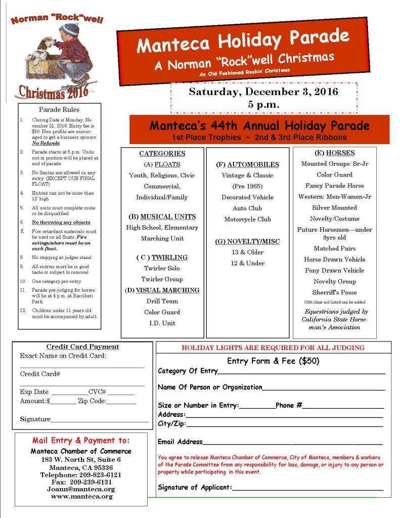 2016 Holiday Parade entry form